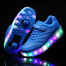 Two Wheels Luminous Sneakers LED Light Shoes