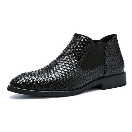 Men's New Fashion Low Cut Crocodile Pattern PU Leather Dress Boot