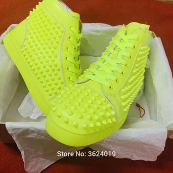 cl andgz Full Fluorescent yellow Rivet Lace up High Top Fashion Party Red bottoms shoes for men Sneakers Leather Loafers Male