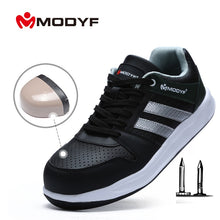 MODYF  High Visibility Reflective Mens Safety Black and Blue Sneakers Steel Toe Cap Work Shoes Construction Protective Footwear Casual Sneakers