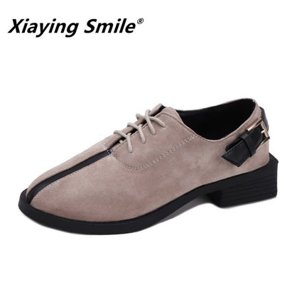 Xiaying Smile Women Pumps Buckle Flock Shoes
