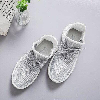 2020 Hot Summer Mesh Sneakers Lightweight breathable Pink/Grey Casual Shoes for Women luminous Lace Flat lace up Shoe 5J26