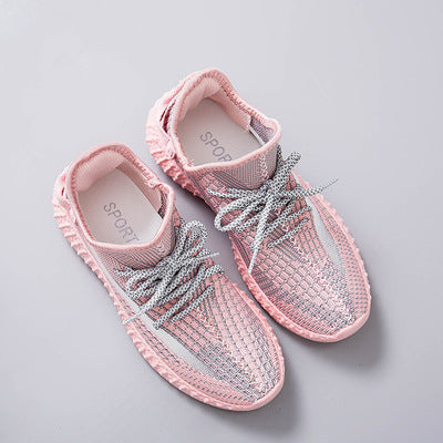 2019 Hot Summer Mesh Sneakers Lightweight breathable Pink/Grey Casual Shoes for Women luminous Lace Flat lace up Shoe 5J26