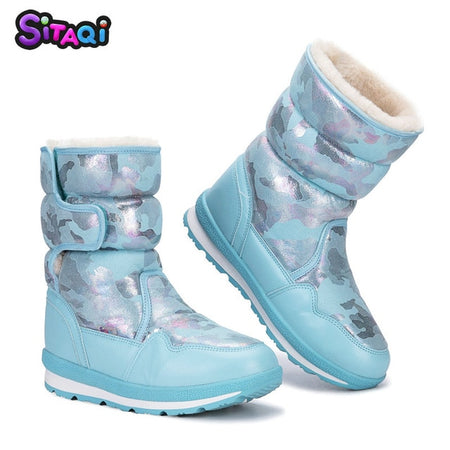 Girls shoes Pink Boots Kids snow boot winter with warm fur