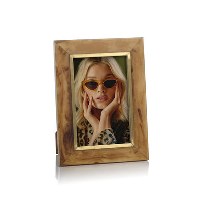 Horn Design Inlaid Photo Frame with Brass Accent - Salisbury & Manus