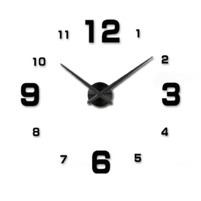 3D Wallclock oupseven Black 37 inches