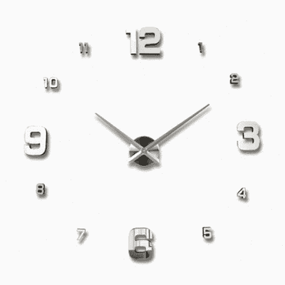 3D Wallclock oupseven Silver 37 inches