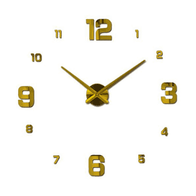 3D Wallclock oupseven Gold 37 inches