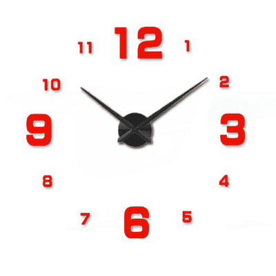 3D Wallclock oupseven Red 37 inches