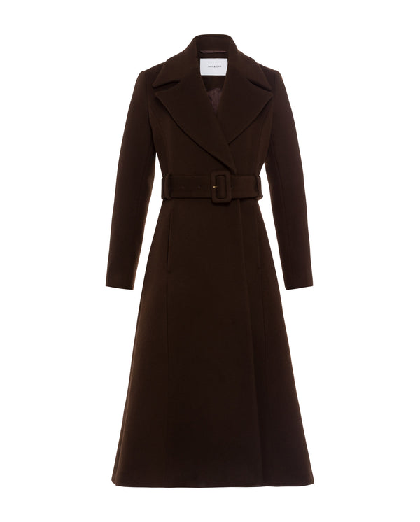 Coat with Statement Collar and Belt Dark Chocolate