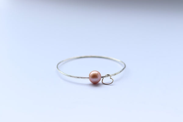 Edison Pearl Heart bangle (Size 7-10)