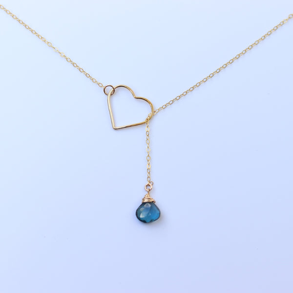 MAILE Heart Necklace (London Blue Topaz)
