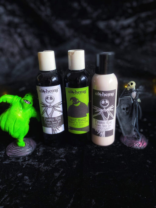 Pumpkin King shampoo, conditioner, oogie boogie body wash