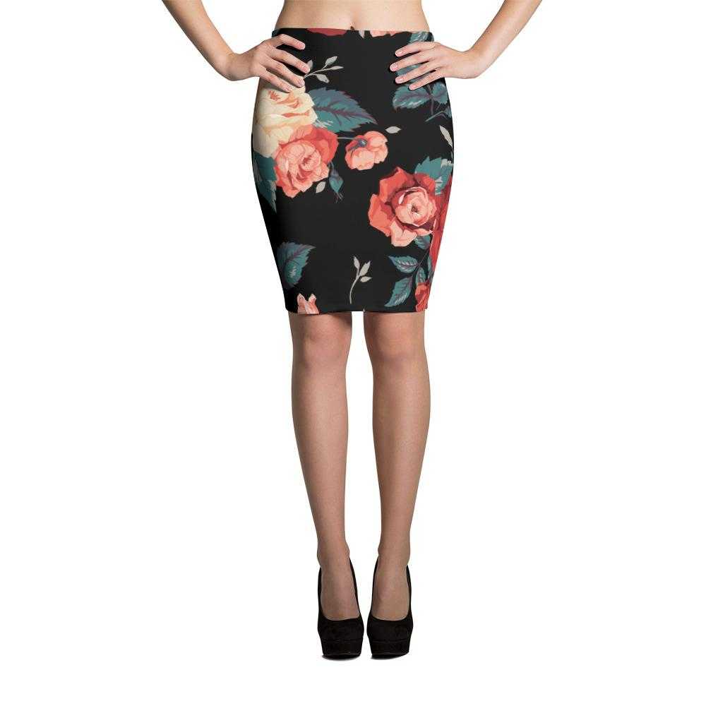 Red Roses | Pencil Skirt