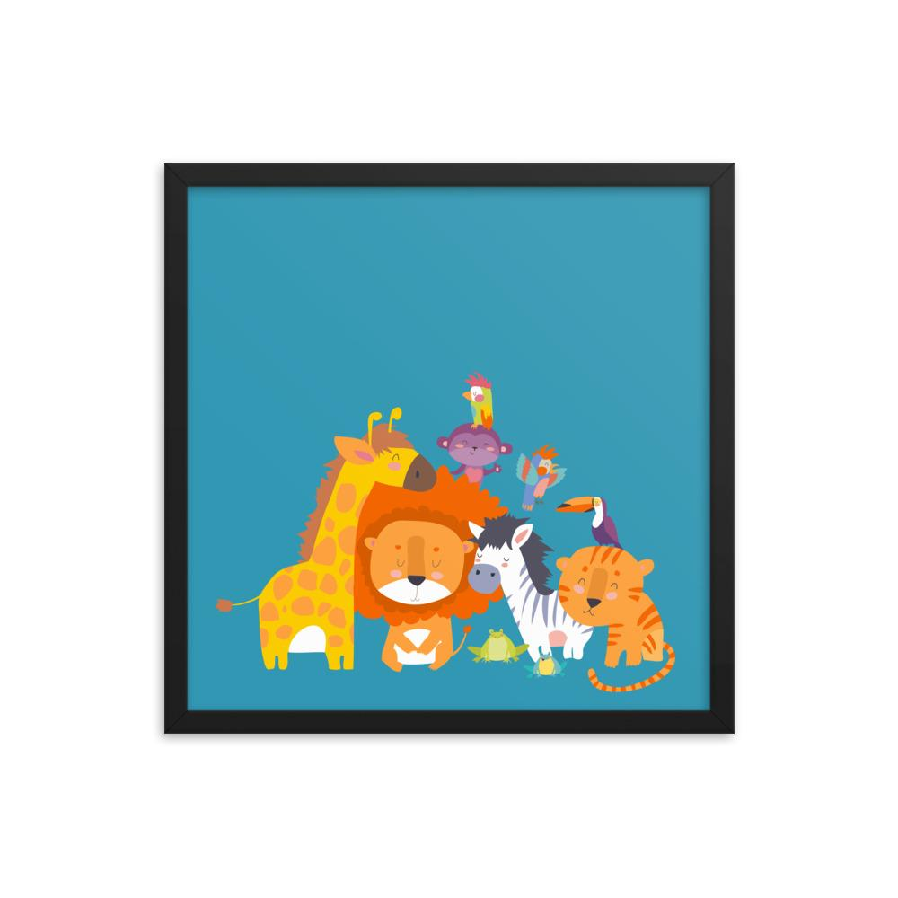 Happy Jungle Animals | Framed poster - WearEasy