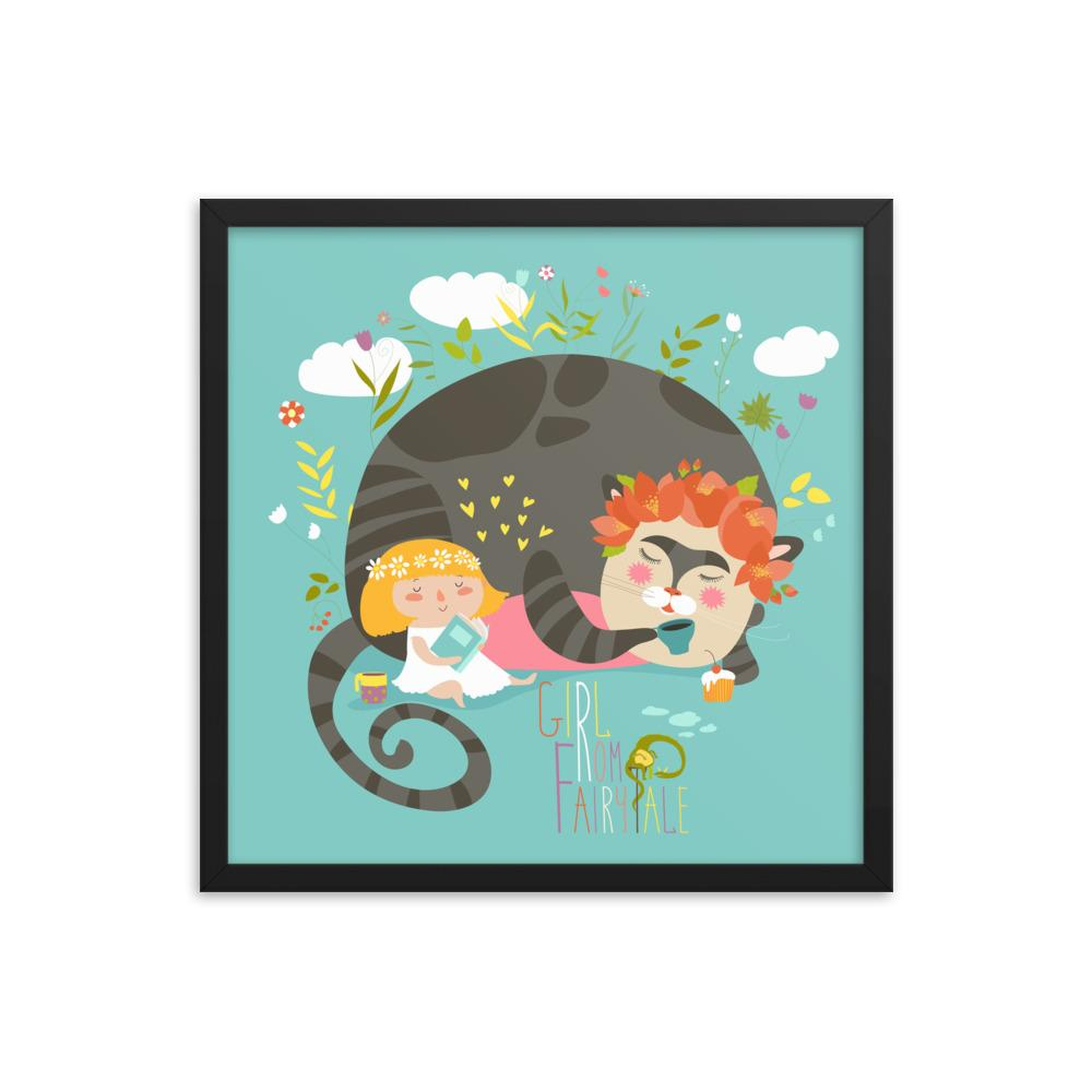 Girl & Cat | Framed poster - WearEasy