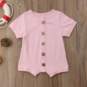 337cf1a19 0-24M Newborn Baby Girls Boys Clothes single breasted Cotton Romper Short  sleeve summer Jumpsuit Outfits Kid Casual