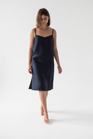 Linen V Neck Cami Dress in Blue Navy