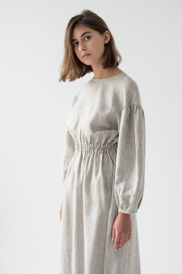 Linen long sleeve dress in BEIGE - Fabrika