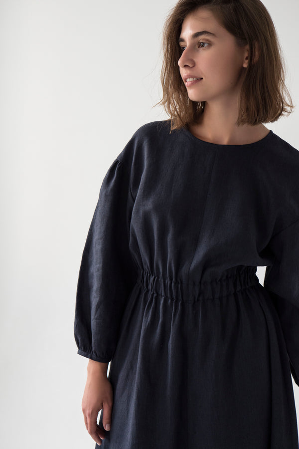 elasticated waist linen midi dress in navy