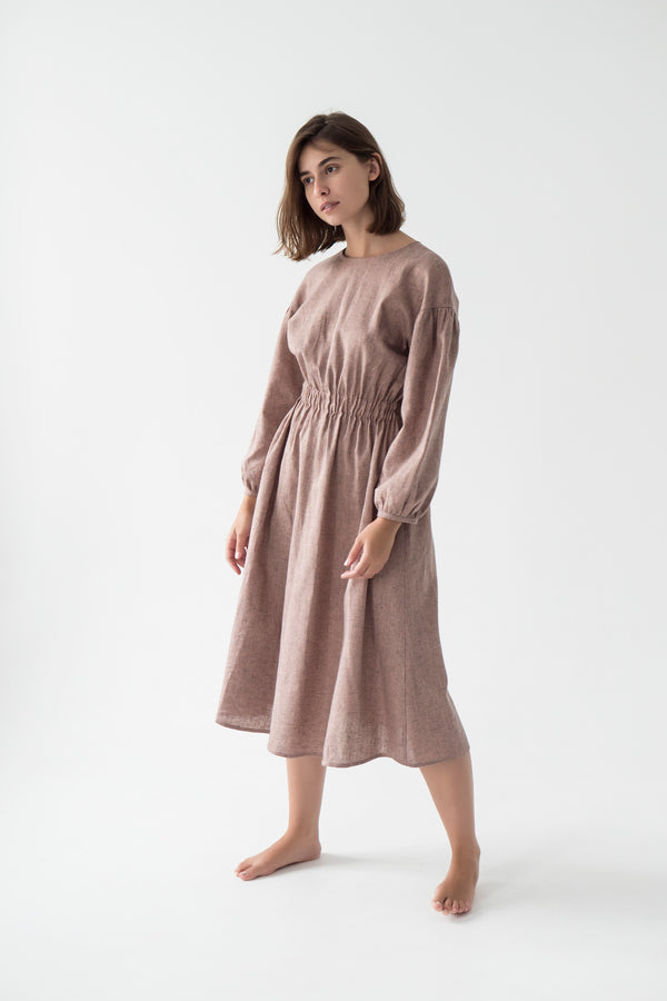 linen midi dress with sleeves in pink