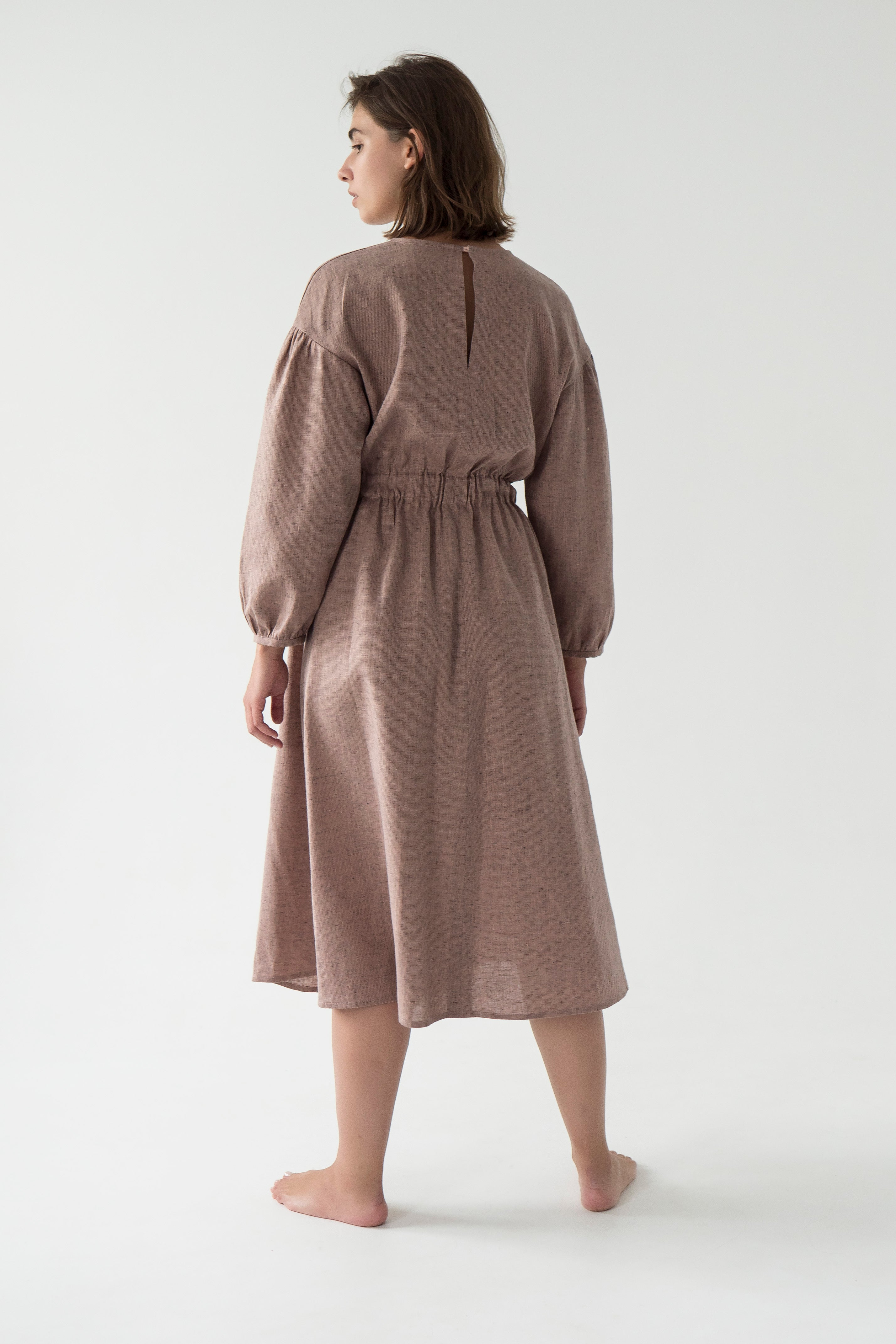 linen midi dress in vintage style