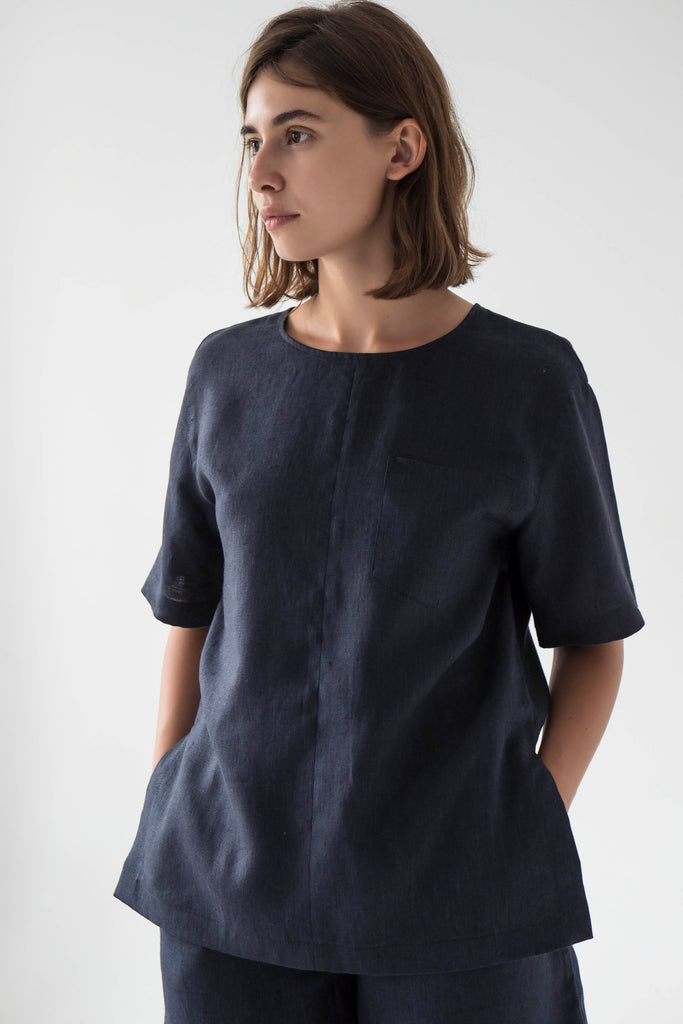 Linen navy top for women