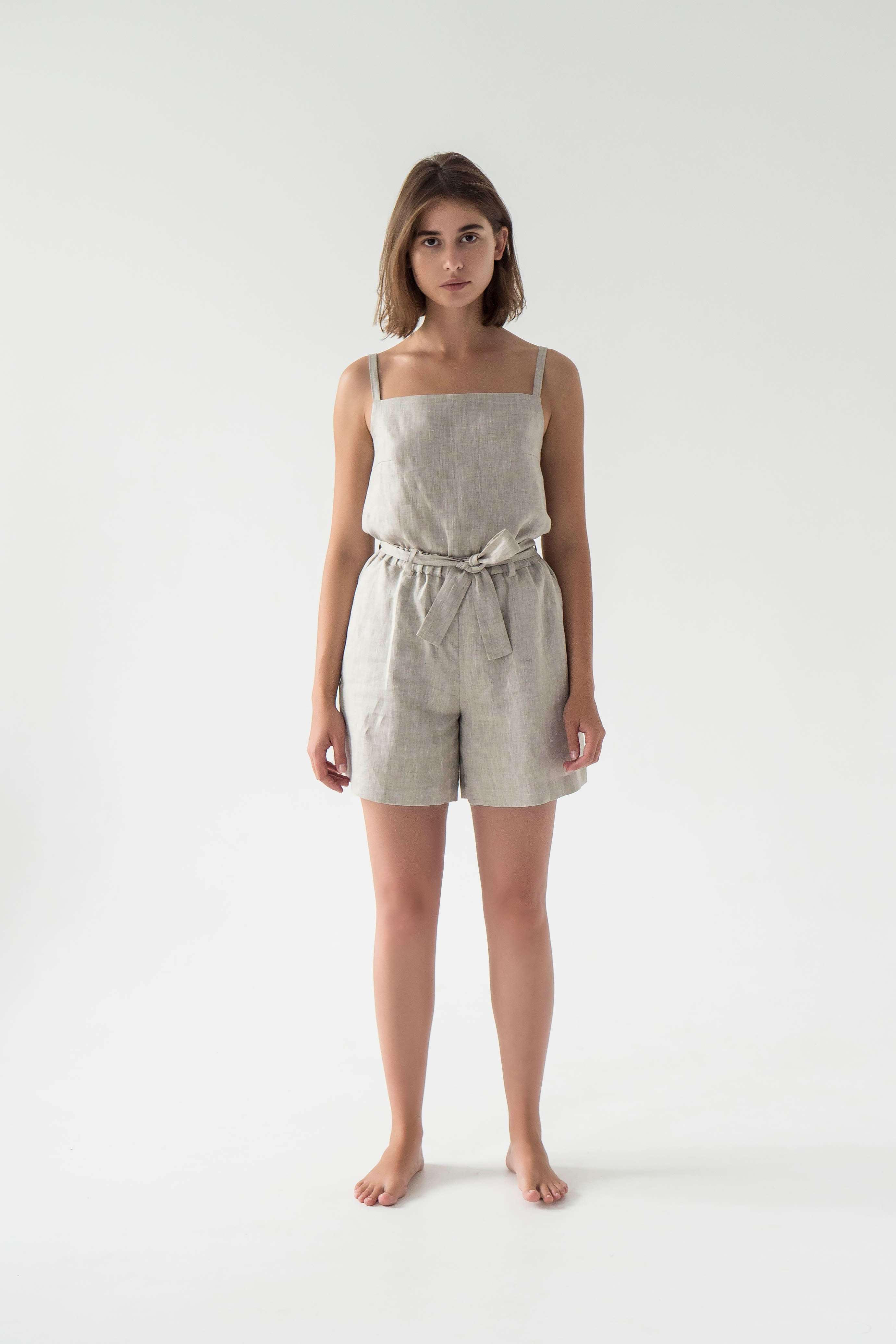 Cami top and shorts linen set