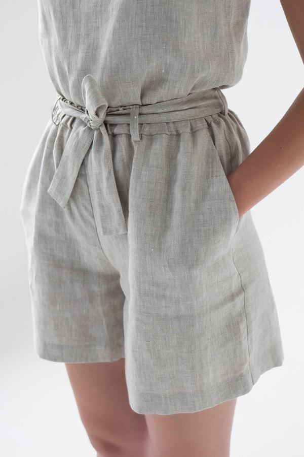 High waisted linen shorts for women