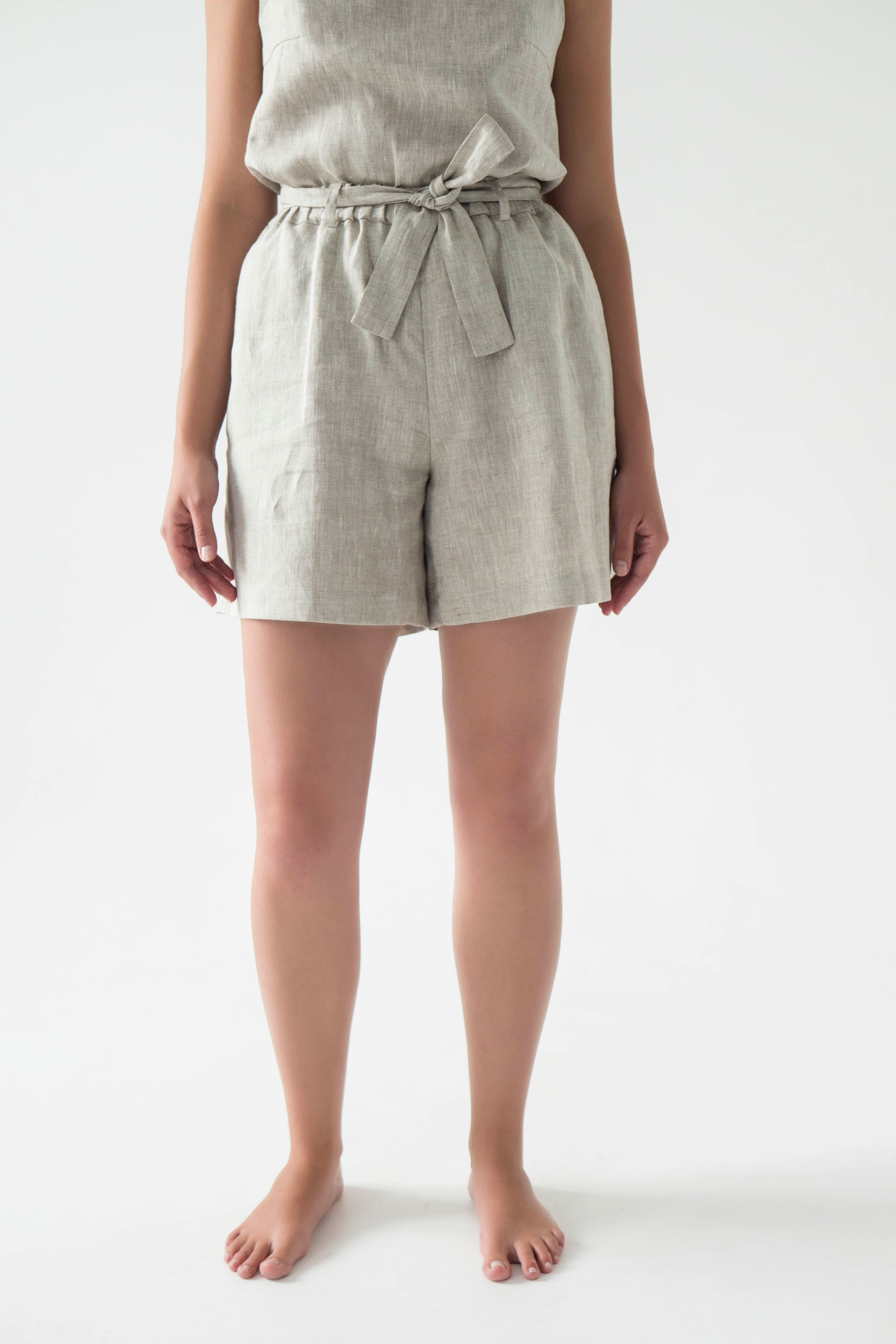 Tie waist linen shorts for women