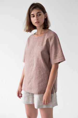 Linen pink top for women
