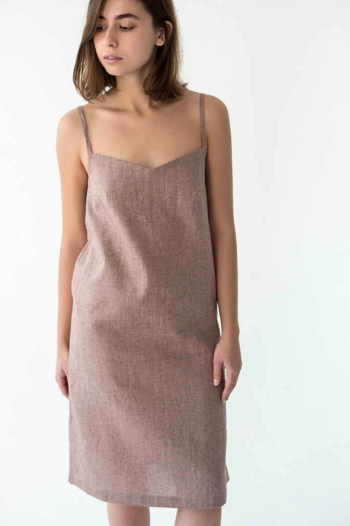Linen V Neck Cami Dress in Pink