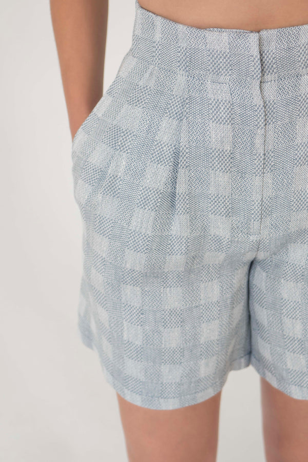 Hight waist linen culotte shorts in PLAID BLUE - Fabrika