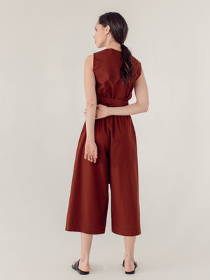 wide-leg viscose pants in terracotta