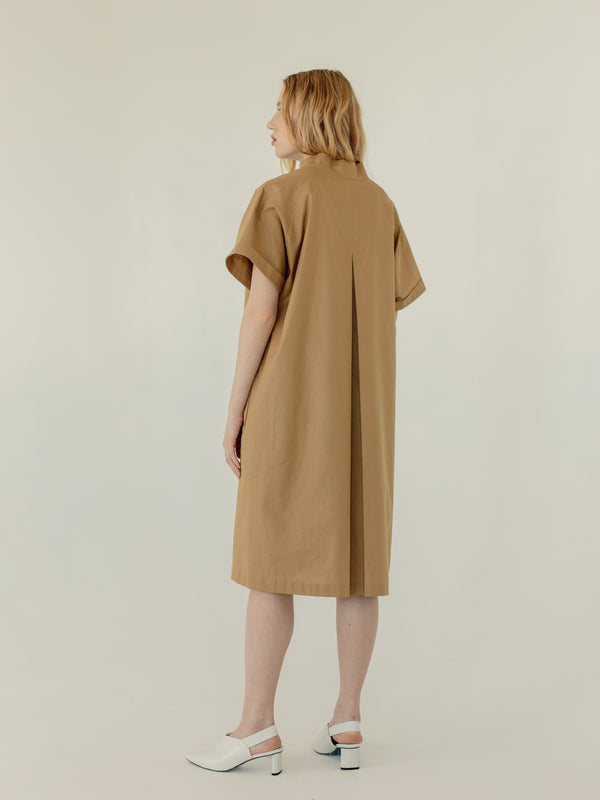 Mandarin collar midi Dress in SAND - Fabrika