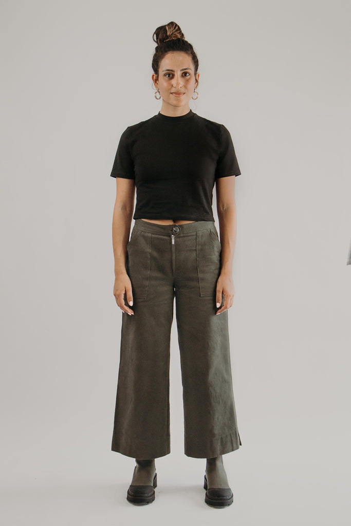 Wide Leg Pants in KHAKI - front