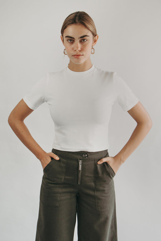 High neck crop top in WHITE - portrait