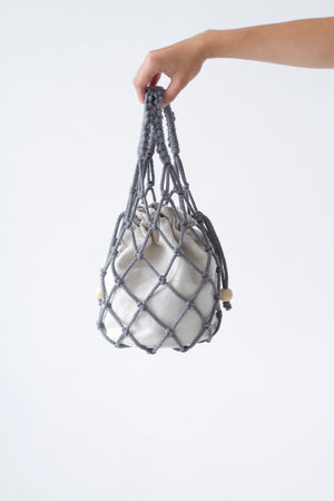 designer macrame handbag in grey