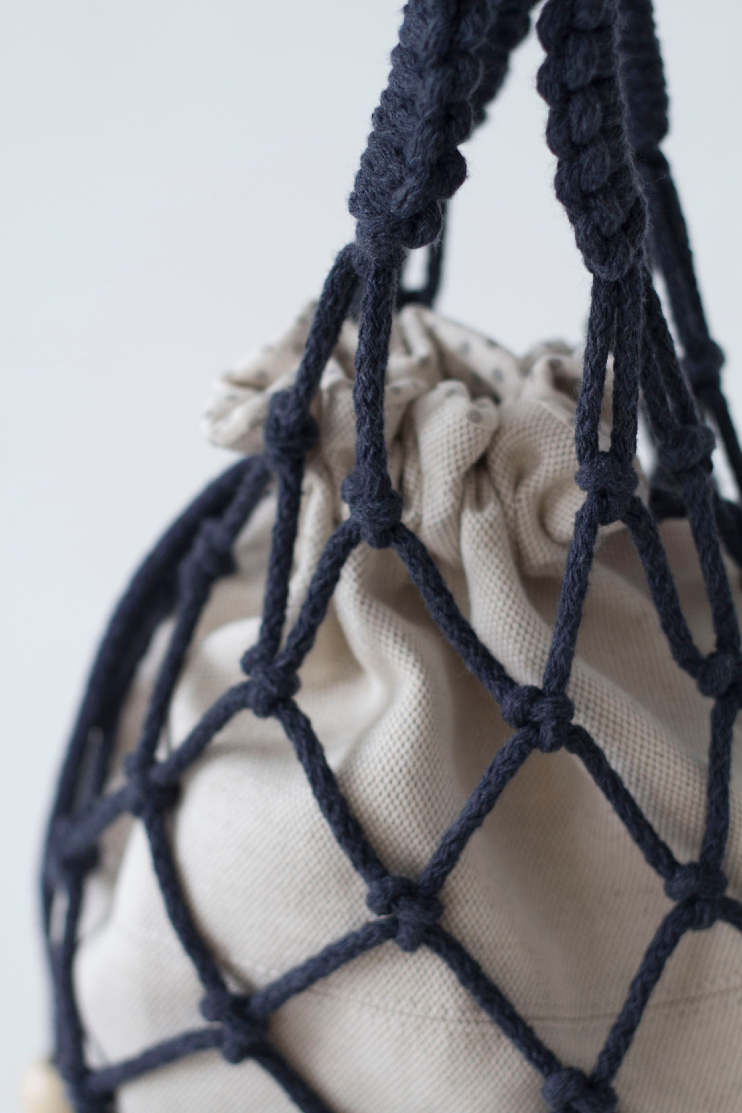 Macrame bucket bag for women