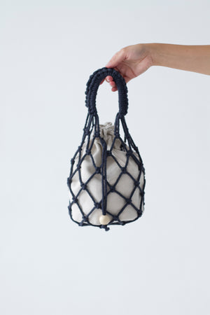 designer macrame handbag in navy