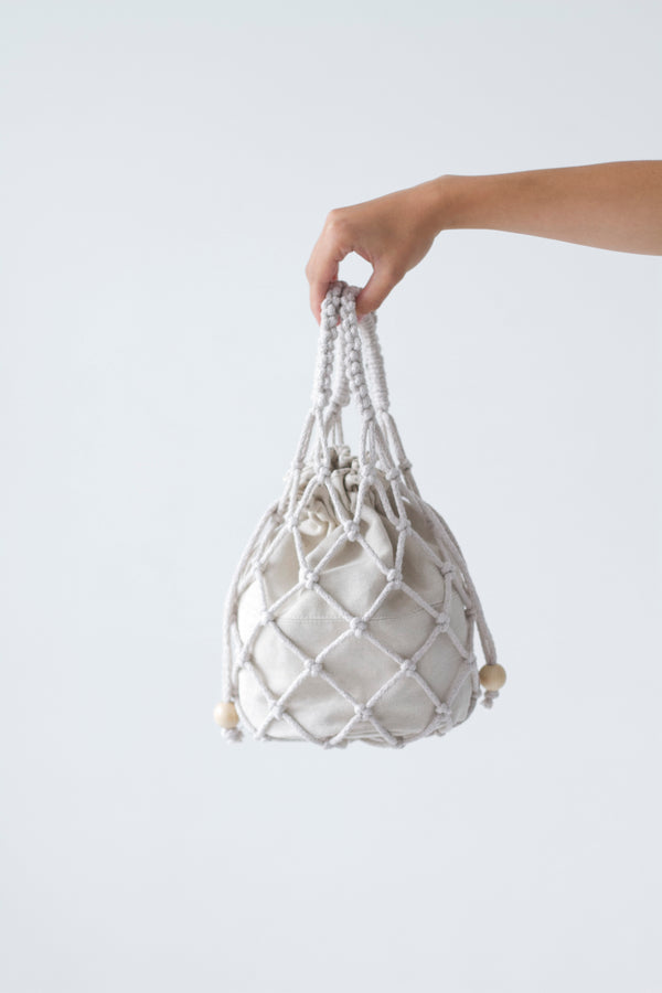 designer macrame handbag in white