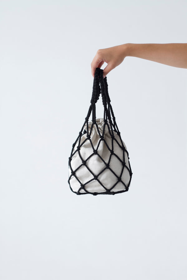 designer macrame handbag in black