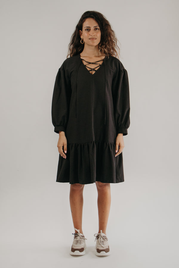 Puff sleeve dress in BLACK - front with sneakers