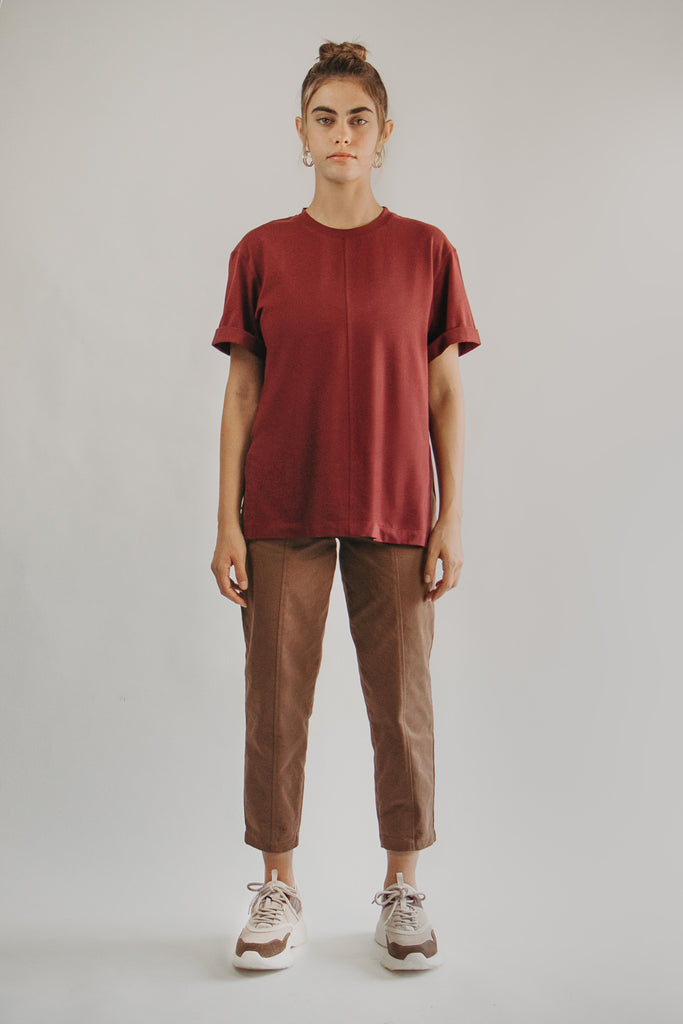 Round-neck T-Shirt in BURGUNDY - front