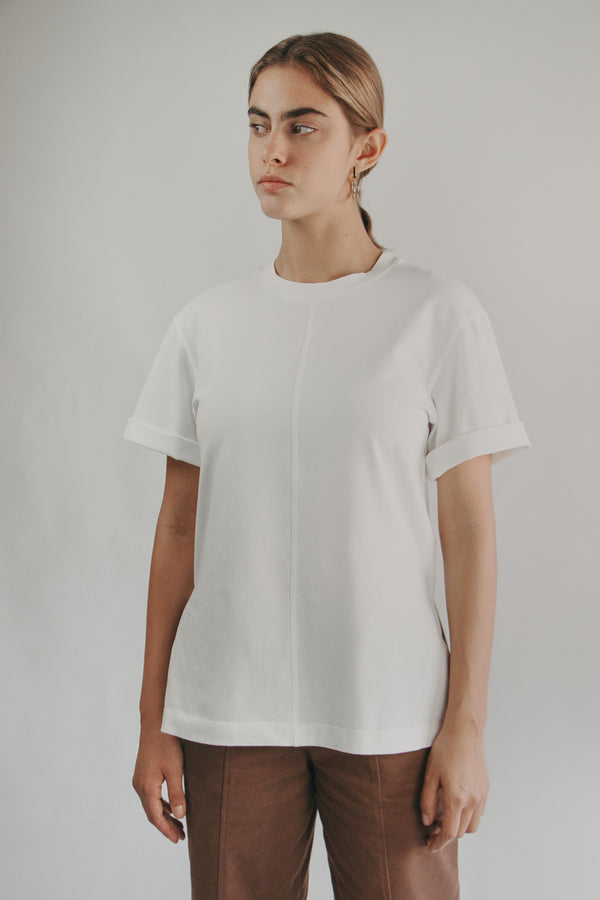 Round-neck T-Shirt in WHITE - Fabrika