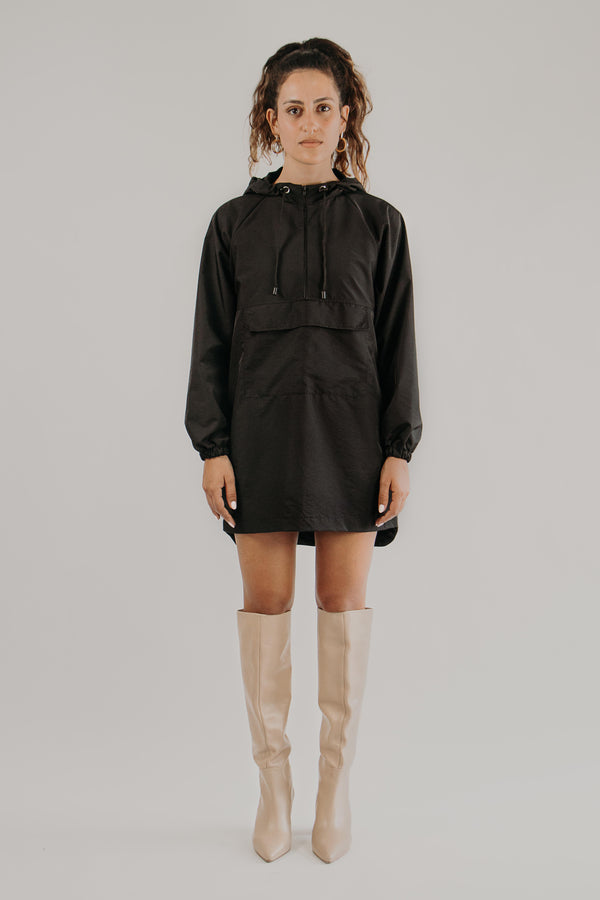 Longer length anorak jacket in BLACK - front view