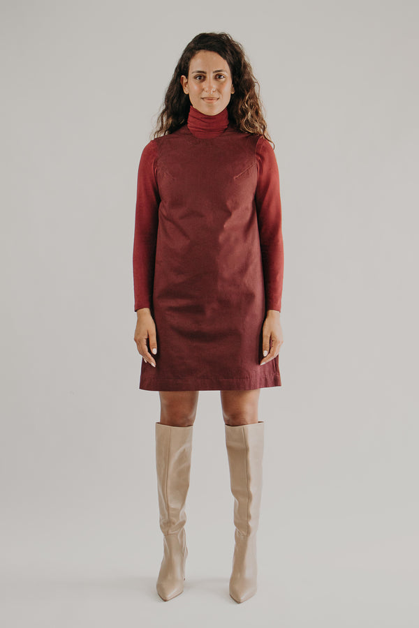 Sleeveless mini dress in BURGUNDY - Fabrika
