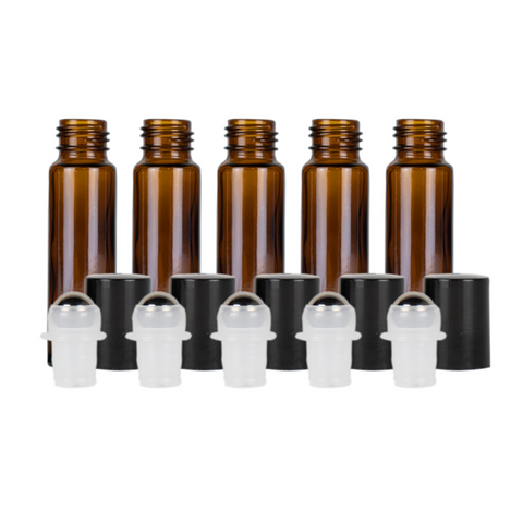 10ml Amber Glass Roller Bottles (Pack of 5)