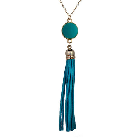 Blue Sierra Tassel Necklace with Gold Chain