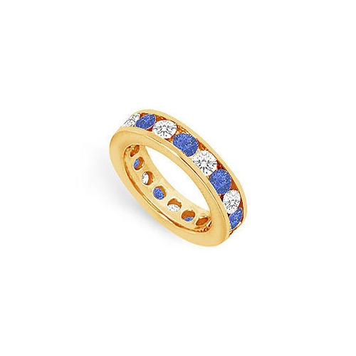 Diamond and Blue Sapphire Eternity Band : 14K Yellow Gold – 3.00 CT TGW